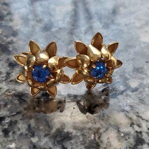 Vintage Blue Rhinestone Gold Toned Flower Earrings